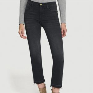 FRAME Le High Straight Black Jeans 28